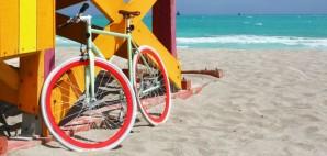 Colorful Bike at a Lifeguard Station on Miami Beach, Florida © Tinamou | Dreamstime 39587153
