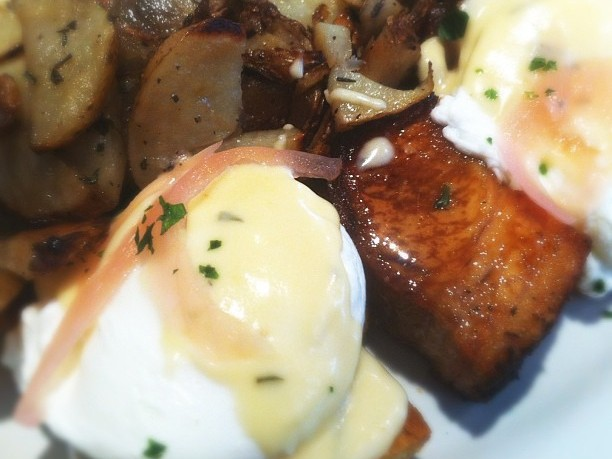 Pork Belly Benedict, Pickled Onions and Rosemary Potatoes at Green Eggs Cafe, Philadelphia, Pennsylvania © Amber DeGrace | Flickr