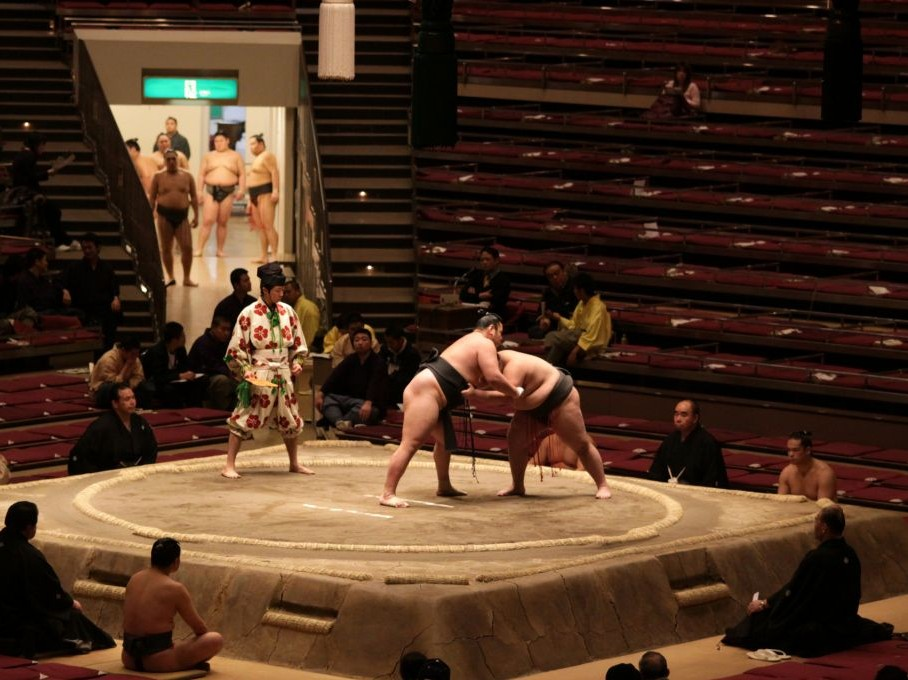 Two sumo wrestlers in a practice match © J. Henning Buchholz | Dreamstime 10933813