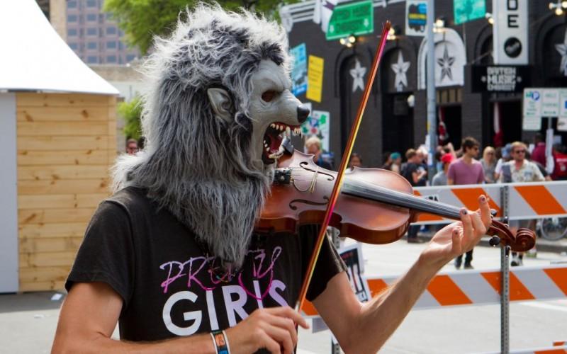 Wolf Man Performer on 6th Street at SXSW, Austin, Texas © Berkshots   Dreamstime 27432250