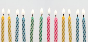 Birthday Cake Candles Lit in a Row © Brad Calkins   Dreamstime 8862229