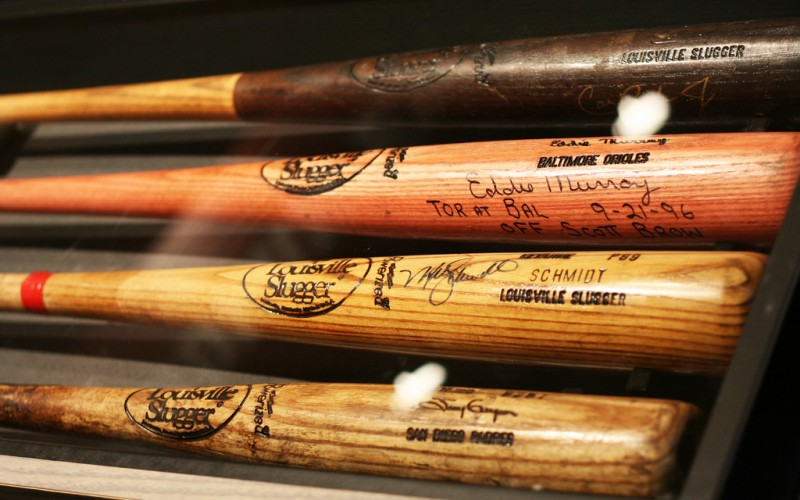 Famous baseball bats at the Louisville Slugger Museum in Kentucky © Lou Oms | Flickr