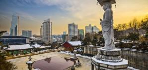 Seoul, South Korea from Bongeunsa Temple © Sean Pavone | Dreamstime