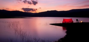 Sunset camping bonfire tent lake © Nitsuki   Dreamstime 28441712