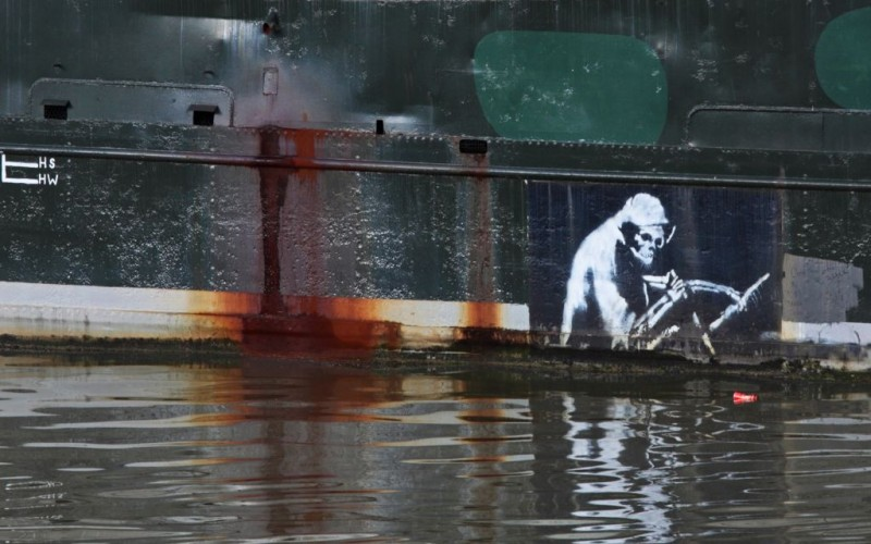The Reaper by Banksy on Thekla club graffiti street art dance nightclub, Bristol, United Kingdom © Pjhpix   Dreamstime 22564556