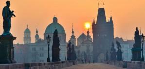 Prague Sunrise from Charles Bridge in the Czech Republic © Innocent | Dreamstime 19120486