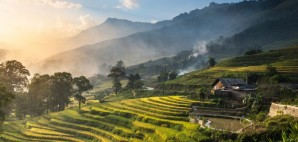 Sunset on Sapa's Rice Paddies in Lao Cai, Vietnam © Kriangkraiwut Boonlom | Dreamstime 44161589