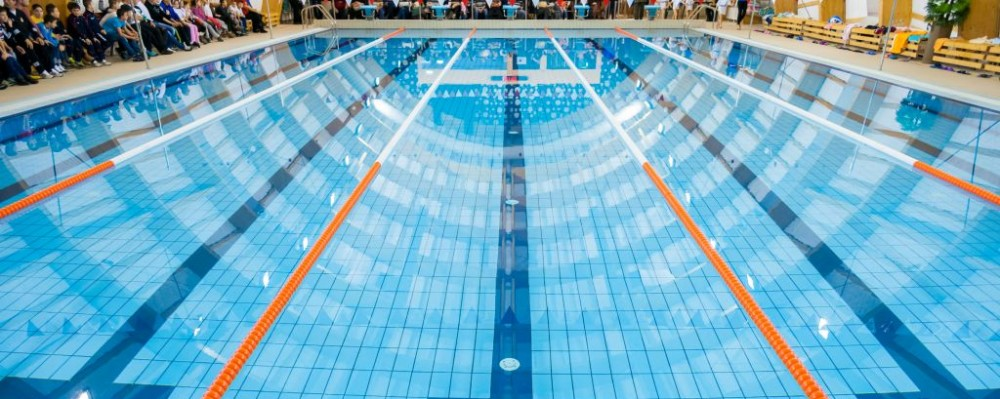lane dividers in olympic size swimming pool stock photo swimming - Olympic Swimming Pool Lanes