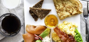 Brunch Plate with Eggs, salmon, Bread and Pancakes © Sidsel Worm | Dreamstime 48742225
