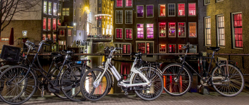 Bicycles in Amsterdam's Red Light District © Digikhmer   Dreamstime 59495039